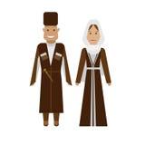 Georgian national dress. Illustration of national costume on white background Royalty Free Stock Images