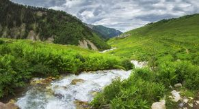 Georgian nature landscape in Svaneti region with mountain river in highlands. Green hills and mountains covered by grass stock photo