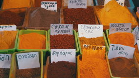 Georgian and oriental spices on the market stock footage