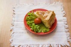 Georgian pie saburani on white tablecloth Royalty Free Stock Image