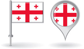 Georgian pin icon and map pointer flag. Vector Royalty Free Stock Images