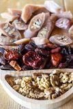 Georgian snacks: walnuts, dried fruits and churchkhela royalty free stock photos