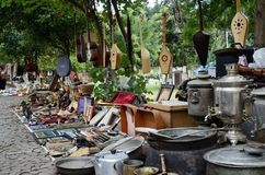 Georgian souvenirs and retro items sold on the Dry Bridge Market in Tbilisi,Georgia Royalty Free Stock Photo
