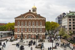 The Georgian-style Faneuil Hall at the Quincy Market in Boston, Massachusetts, USA. BOSTON, MA, USA - OCTOBER 28: The Georgian-style Faneuil Hall at the Quincy stock photos