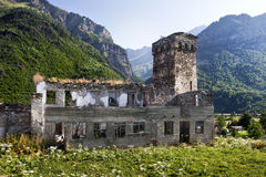 Georgian Svaneti towers. And ruin defensive system medieval age Zambeshi village royalty free stock photography