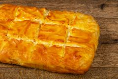 Georgian traditional Achma. Pie with cheese stock photos