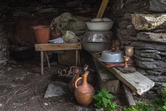 Georgian traditional jugs pitchers pelvis pots bucket in a shed royalty free stock photos