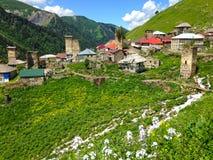 Small Georgian village in the Caucasus Mountains. Georgian village in the Caucasus Mountains royalty free stock image