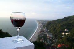 Georgian wine. A glass of vine at the hotel balcony, Batumi, Georgia Stock Image