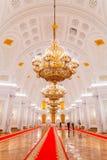 Georgievsky大厅的内部看法在盛大克里姆林宫宫殿在莫斯科 图库摄影