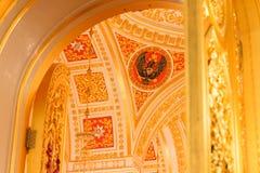 Georgievsky大厅的内部看法在盛大克里姆林宫宫殿在莫斯科 免版税库存照片