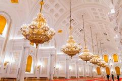 Georgievsky大厅的内部看法在盛大克里姆林宫宫殿在莫斯科 免版税图库摄影