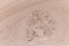 Georgievsky大厅的内部看法的细节在盛大克里姆林宫宫殿在莫斯科 免版税库存照片