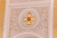 Georgievsky大厅的内部看法的细节在盛大克里姆林宫宫殿在莫斯科 免版税图库摄影