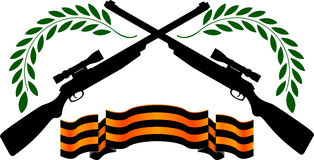 Georgievsy ribbon and sniper rifles Stock Photo