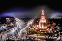 Georgiivskaklokketoren in Kryvyi Rih, plaats van de nacht de lucht beroemde godsdienst Stock Foto's