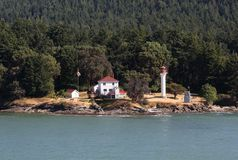 Georgina Point Lighthouse, Mayne Island, British C. Georgina Point Lighthouse on Mayne Island, one of the Gulf Islands, at the entrance to Active Pass. British Stock Photos