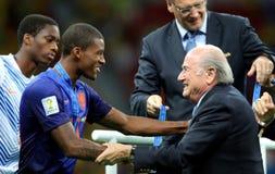Georginio Wijnaldum and Sep Blatter Coupe du monde 2014 Stock Photography