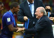 Georginio Wijnaldum and Sep Blatter Coupe du monde 2014 Stock Photos