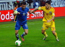 Georgios Karagounis and Cristian Tanase during FIFA World Cup Playoff Game Royalty Free Stock Photos