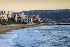 The georgious view of the ocean front apartments overlooking the Pacific Ocean Royalty Free Stock Images