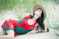 Georgisch meisje op het strand Stock Fotografie