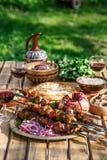 Georgisch nationaal de keukenconcept van het Shashlikgedeelte Royalty-vrije Stock Foto's