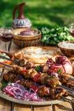 Georgisch nationaal de keukenconcept van het Shashlikgedeelte Stock Foto