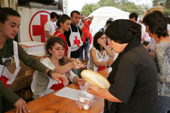 Georgische Flüchtlinge in Gori Lizenzfreie Stockfotografie