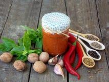 Georgische Haupt-adjika Soße des heißen roten Pfeffers, des Knoblauchs, des Basilikums, der Walnüsse, des Bockshornklees, der Fen Lizenzfreies Stockbild