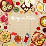 Georgische Küche-traditionelles Lebensmittel mit Khachapuri Stockfotografie
