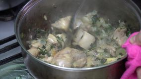 Georgische keukenchashushuli met vlees en kruid Voedsel stock footage