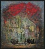 Georgische kunstenaar die de oude binnenplaats schilderen Royalty-vrije Stock Fotografie