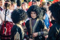 Georgische Volksdansers op Nationale Soevereiniteit en Kinderen` s Dag - Turkije Stock Afbeeldingen