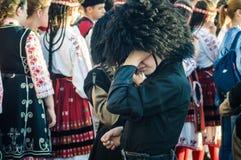Georgische Volksdansers op Nationale Soevereiniteit en Kinderen` s Dag - Turkije Stock Fotografie