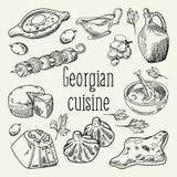 Georgisk dragen mathand Georgia Traditional Cuisine med klimpen och Khinkali stock illustrationer