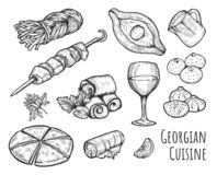 Georgisk kokkonstuppsättning royaltyfri illustrationer