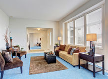 Georgous living room with bright blue carpet. Stock Photography