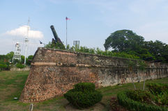 GEORGTOWN, PENANG, MALAYSIA - APRIL 18, 2016: Fort Cornwallis withn wall and canon, Southeast Asia. Royalty Free Stock Photography