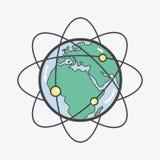 Geostationary orbits around earth planet. Vector illustration Stock Photo