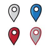 Geotag集合乱画图表导航象手拉的例证黑色线 库存图片