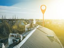 Geotag point on city streets. aerial view b stock image