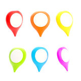 Geotag symbol glossy colorful emblem, set of six Royalty Free Stock Photography
