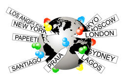 Geotagging. Vector illustration of city tags on the globe depicting geotagging stock illustration