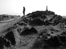 Geotagging på den Samila stranden, Songkhla, Thailand Arkivbild