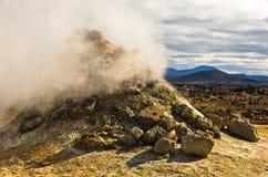 Geotermisk aktivitet på Namafjall områdesöst av sjön Myvatn Fotografering för Bildbyråer