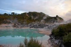 Geotermisk aktivitet runt om en pöl Royaltyfri Bild