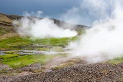 Geotermisk dal med ånga nära Hveragerdi, termiska vårar, Island Royaltyfri Bild