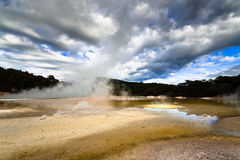 geotermisk liggande New Zealand Royaltyfria Bilder