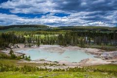 Geotermisk pöl, gyttjavulkan, Yellowstone nationalpark Fotografering för Bildbyråer